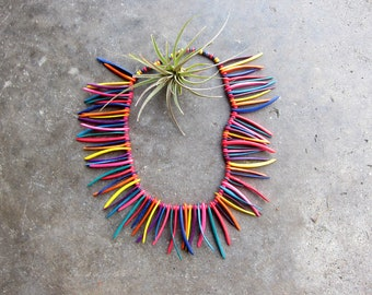 Painted Beaded Necklace Statement Piece Necklace Rainbow Wood Necklace Vintage Tribal Spiky Jewelry Boho Resort Necklace Ethnic Jewelry