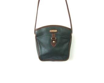 90s Small Dark Green & Brown Purse with Crossbody Strap Preppy Shoulder Bag Vintage Simple Cross Body Preppy Purse Purse