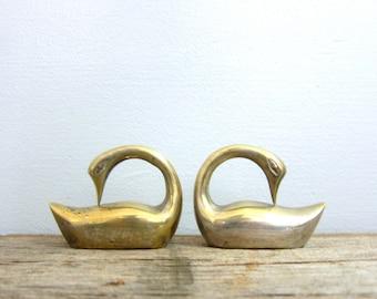 Small Brass Swans 2 bird figurines Tiny Heavy Brass Set modern Home decor mid century brass birds bookends Retro Ranch GS