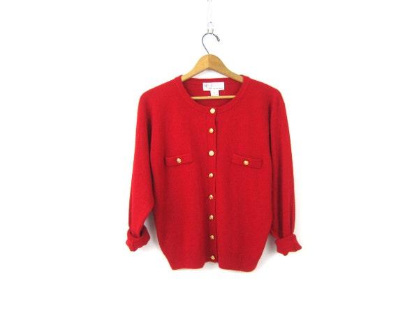 Soft Red Cardigan Sweater Gold Button Up Classic Cardigan Fall Sweater Thin Minimal Preppy Shirt Basic Top Vintage Womens Medium