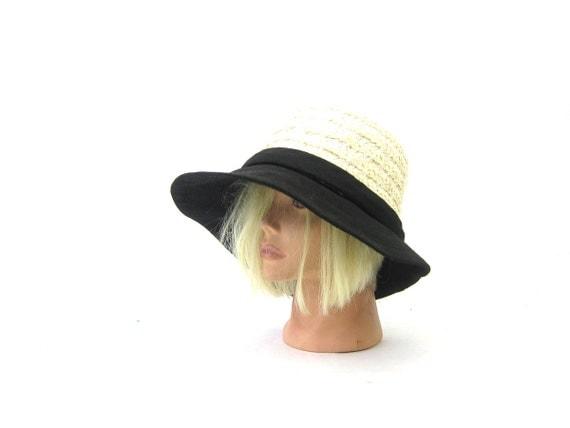 Vintage White & Black Womens Floppy Brim Sun Hat 1960s Dress Hat Linda Anne Union Made Fashion Hat with wide Brim Small