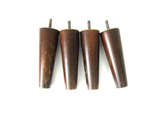Set Of Four 4 Mid Century Modern Tapered Wood Legs Stool Coffee Table Ottoman Dark Short Brown Legs with Metal Feet