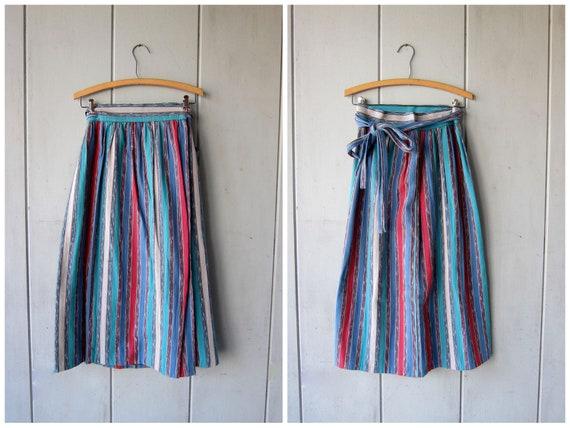 Vintage Guatemalan Skirt Colorful 80s Ethnic Midi WRAP Skirt High Waist Cotton Skirt Boho Hippie Spring Skirt DES Womens Small Medium