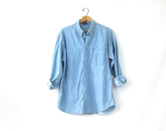 Vintage 90s Jean Shirt Oversized Button Up Faded Light wash Denim Slouchy Hipster Minimal Casual oxford Shirt Mens size Medium