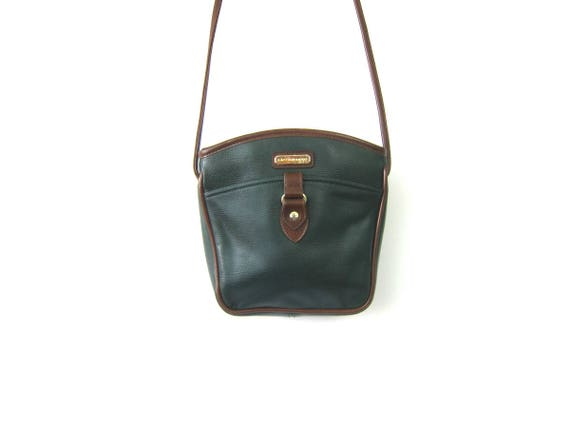 90s Small Dark Green & Brown Purse with Crossbody Strap Preppy Shoulder Bag Vintage Simple Cross Body Preppy Purse Purse
