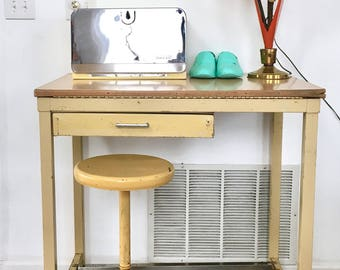 Vintage Mid Century Modern Yellow Industrial Metal Drafting Table and Stool