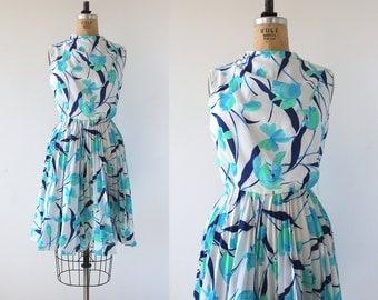 vintage 1960s dress / 60s floral print dress / 60s blue roses dress / 60s pleated skirt dress / 60s sundress / 60s day dress / small med