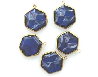 Brass Blue Channel Set Faceted Blue Crystal Acrylic Charms Hexagon Vintage Royal Blue Rivoli charm bead Set 1 Loop charm, 5