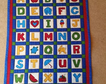 Baby Quilt / Wall Hanging  / Playmat ABC 123 Alphabet Numbers