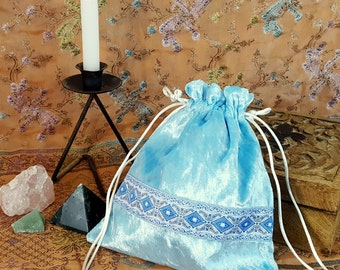 Light Blue Velvet Drawstring Coin Purse - Gaming Dice Bag - Jewelery Pouch - Renaissance, SCA, LARP, Medieval - Regency Reticule