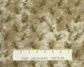 Batik Olive Brown Indian Leaves Cotton Fabric YARDS