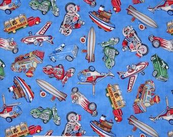 Kids Fabric - Antique Toys Blimp Motorcycle Train Plane Blue - RJR YARD