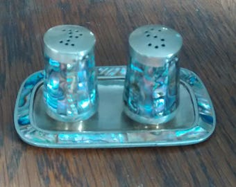 Pearly Salt and Pepper shakers Alpaca Taxco Pearlescent