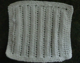 Hand Knit White Dishcloth - measures approximatley 81/2x81/2 inches