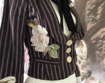 SALE Boho jacket gypsy festival clothing indigo pinstripe vintage  roses shrug spencer empire waist size  34 chest coupon code RGCSALE