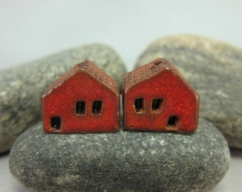 READY TO SHIP...Miniature Terracotta House Beds...Set of 2...Sunset Red