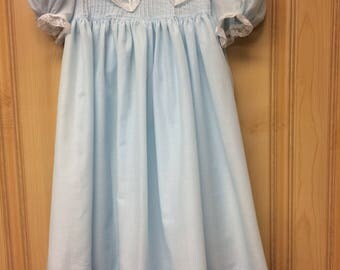 Little girl's dressy blue lace collared dress