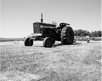 Tractor Photograph, Rustic Wall Decor, Black and White Print, Fine Art Photography, Farm Picture, Rural Photo, Adirondacks, Landscape, Grey