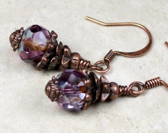 Purple Czech Glass Beaded Earrings, Amethyst Earrings, Dangle Earrings, Purple Earrings, Petite Earrings, Vintage Jewelry, Copper Earrings