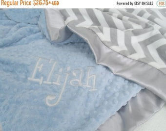 ON SALE Gray Chevron With Blue Minky Baby Blanket Can Be Personalized