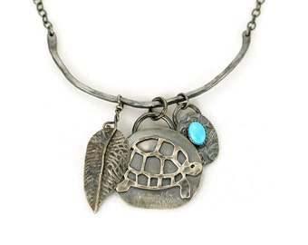 Turtle Charm Necklace - Sterling Curved Bar Necklace -  Boho Turtle Pendant