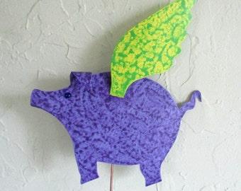 "Metal garden art ""when pigs fly"" sculpture metal yard art stake flying pig outdoor living purple lime green 9 x 11"