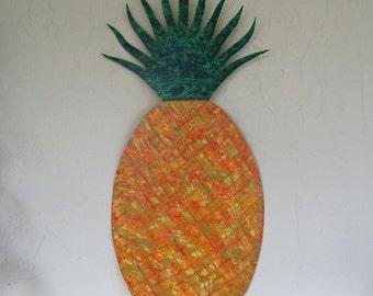 Metal Art Wall Sculpture Kitchen Dining Room Patio Decor Reclaimed Metal Art  Yellow Green Orange 25 x 12