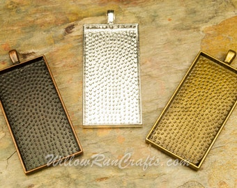 "15 pcs 1 "" x 2""  Rectangle Pendant Trays in Bronze, Antique Copper and Silver Plated, Rectangle Bezel, Blank Bezel Cabochon Setting"
