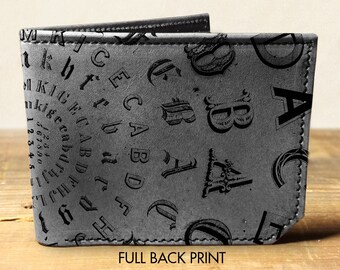 wallet - leather wallet - typeface wallet - mens wallet- 0019