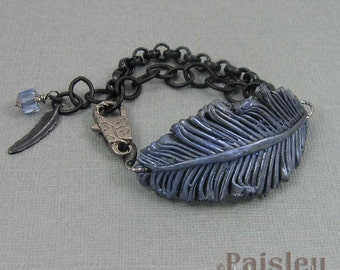 Raven Feather bracelet, iridescent polymer clay feather on matte black plated chain with lobster clasp