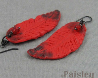 Cardinal Feather Earrings, red black polymer clay dangles on black wires