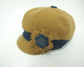 Women's Cotton Newsboy Cap, Fabric Newsboy Hat, Fall Winter Hat, Camel Color, Chemo Hat, Non-Wool Flat Hat, Slouchy, with Flower Brooch