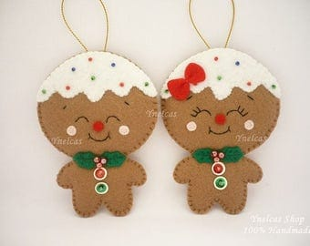 Gingerbread Cookie Felt Christmas Ornament for Boy and Girl - ONE ORNAMENT