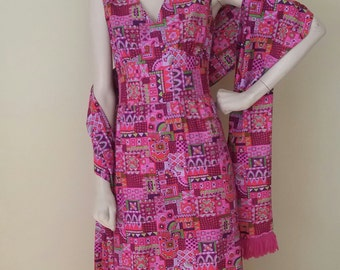 Vintage Printed Dress and Scarf Bright Colors