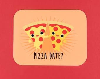 Pizza Date? Card, Blank Inside, kawaii, food, BFF, cute food