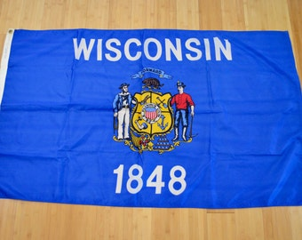 Vintage STATE of WISCONSIN flag large size made in usa Nyl-Glo