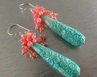 20 Off Carved Turquoise And Coral Cluster Earrings