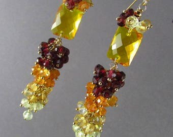 25 % OFF Honey Quartz With Rhodolite and Mandarin Garnet, Citrine and Lemon Quartz Wire Wrapped Earrings