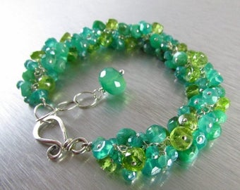 25 % OFF Chrysoprase,Green Onyx and Peridot Cluster Sterling Silver Bracelet