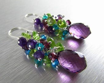 25 % OFF Colorful Gemstone Earrings - Peridot, Amethyst, Garnet and Quartz With Sterling Silver