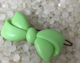 vintage hair barrette soft  green bow