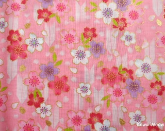 "Scrap / Japanese Kimono Fabric - Arrow Pattern Sakura Cherry Blossoms on Pink - 110cm x 53cm(43""W x 20.8""L) (nu170418)"