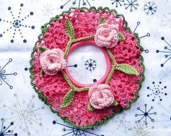 Crocheted Scrunchie - Pink Frill with Roses