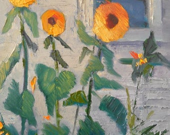 """Small Sunflower Painting, Textured Oil Painting, Yellow, Orange, Gray, Original Wall Decor, 6x8"""" Oil Painting, Free Shipping in US"""