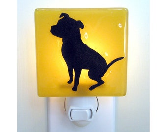 Dog Night Light - Hand Painted Fused Glass Night Light