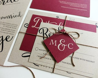 Rustic Burgandy Red Wedding Invitation, Kraft Paper, Twine and Tag, Invitation Set, Modern Script Wedding Red Berry, Printable DIY, Monogram