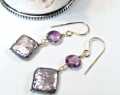SPRING SALE Amethyst Pearl Earrings Lavender Gem Cluster Earrings Handmade Sterling Silver Square Pearl Earrings