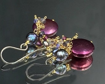 HOLIDAY SALE 20% Plum Coin Pearl Earring Oxidized Silver Gold Fill Chain Dangle Tanzanite Garnet Wire Wrap Navy Grey Laser Pearl Mixed Metal