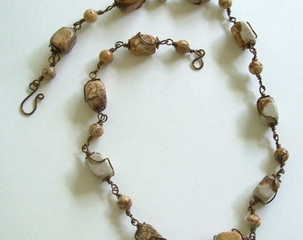 Landscape Jasper Nuggets and Round Beads linked with Antique Bronze Wire Carol Wilson of Je t'adorn