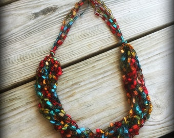 Fruit Punch Ladder Yarn Necklace/Jewelry/Crochet Ribbon Necklace/Necklace/Fiber Jewelry/Jewelry/Ladder Necklace/Boho/Crochet/Crochet Jewelry